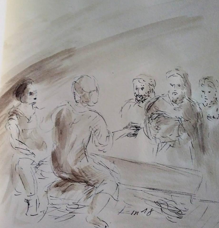17 février 2018, évangile du jour illustré par un dessin au lavis