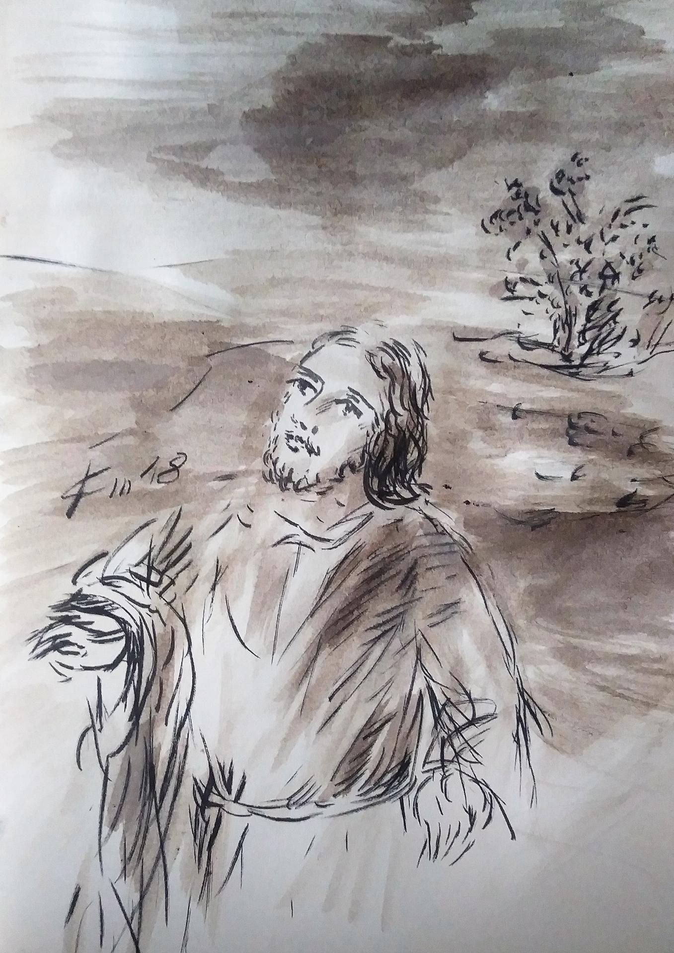 17 Mai 2018, évangile du jour illustré par un dessin au lavis