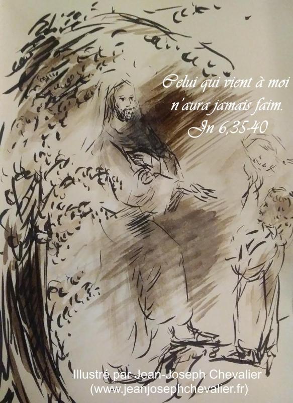18 avril 2018 evangile du jour illustre par un dessin au lavis de jean joseph chevalier image