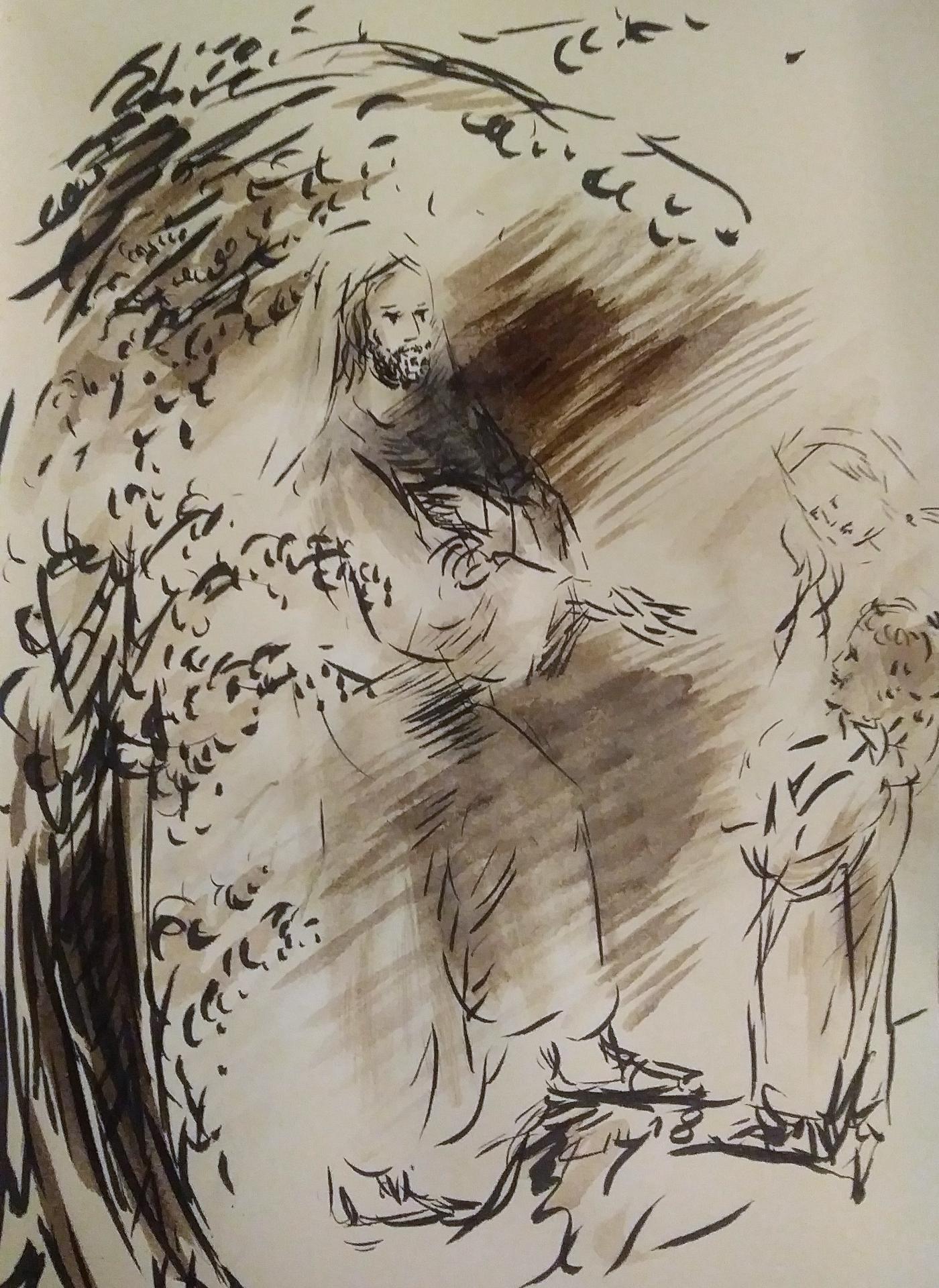 18 avril 2018 evangile du jour illustre par un dessin au lavis de jean joseph chevalier