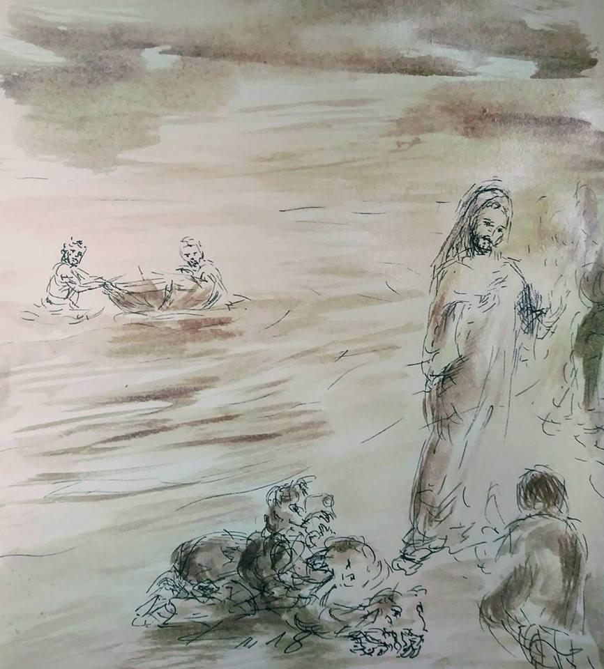 18 Janvier 2018, évangile du jour illustré par un dessin au lavis
