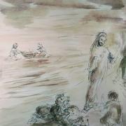18 janvier 2018 image evangile du jour illustre par un dessin au lavis de jean joseph chevalier