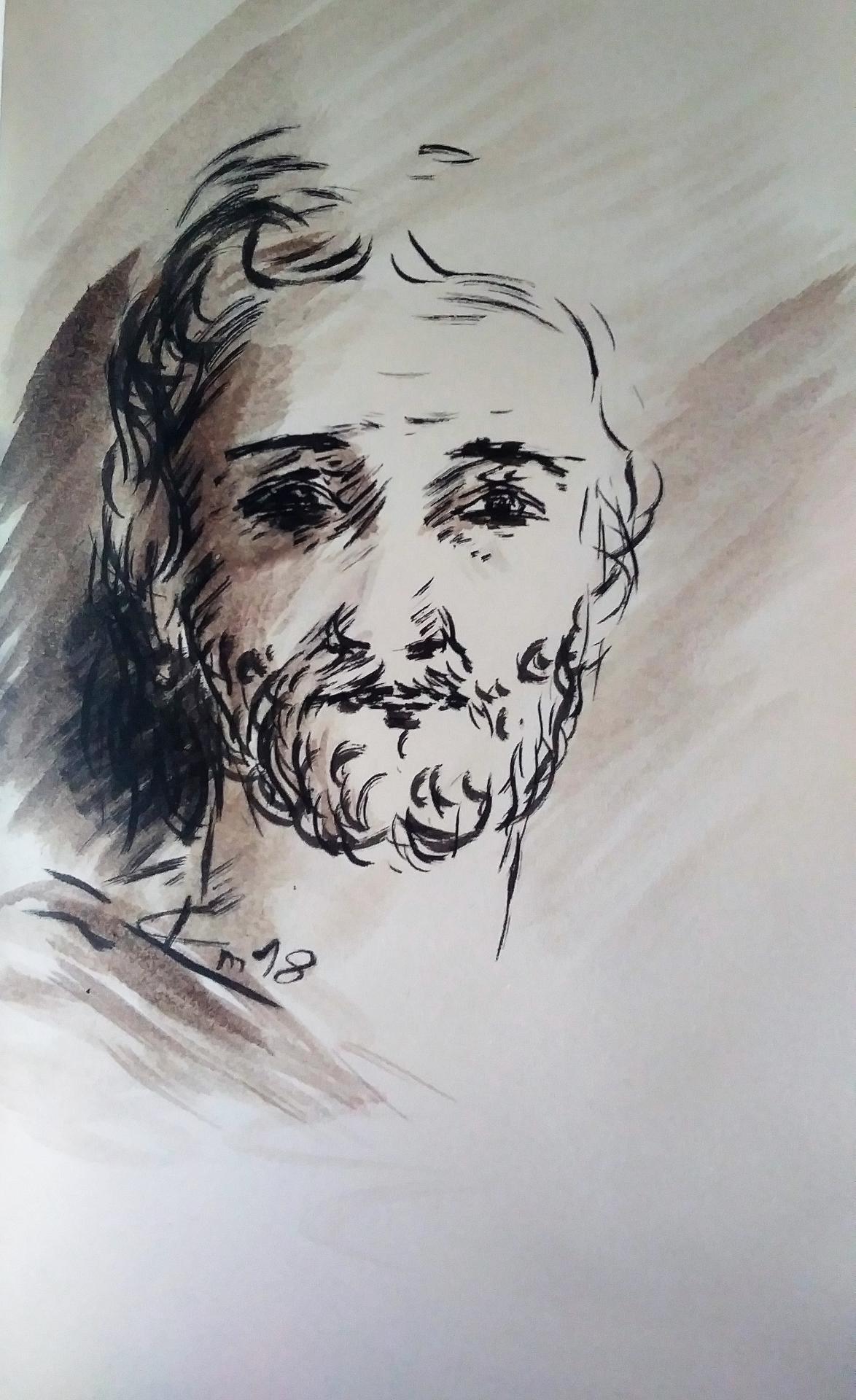 18 Mai 2018, évangile du jour illustré par un dessin au lavis