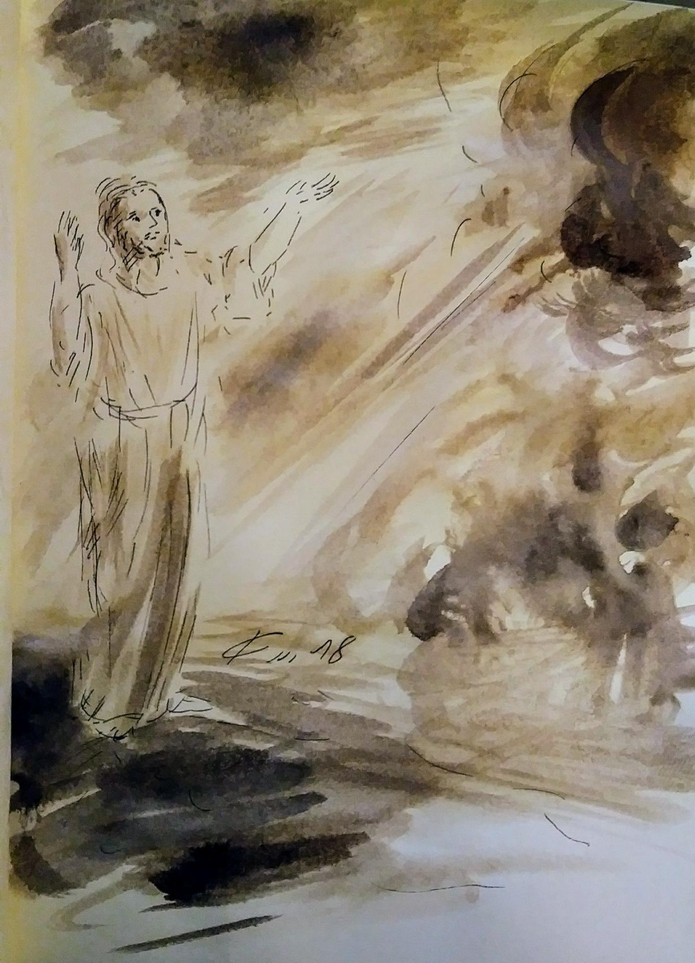 18 mars 2018 evangile du jour illustre par un dessin au lavis de jean joseph chevalier