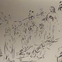 19 avril 2018 evangile du jour illustre par un dessin au lavis de jean joseph chevalier