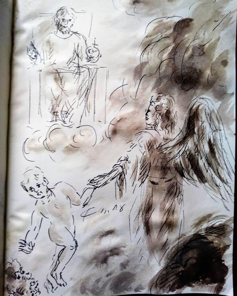 19 février 2018, évangile du jour illustré par un dessin au lavis