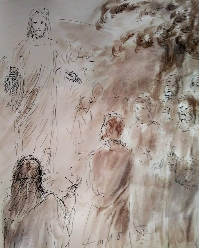 19 Janvier 2018, évangile du jour illustré par un dessin au lavis