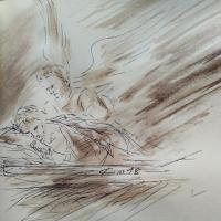 19 mars 2018 evangile du jour illustre par un dessin au lavis de jean joseph chevalier