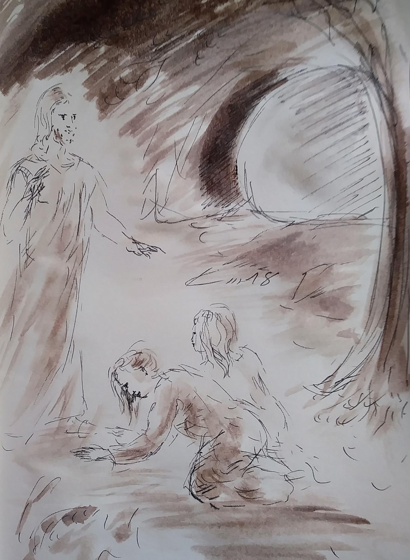 2 Avril 2018, évangile du jour illustré par un dessin au lavis