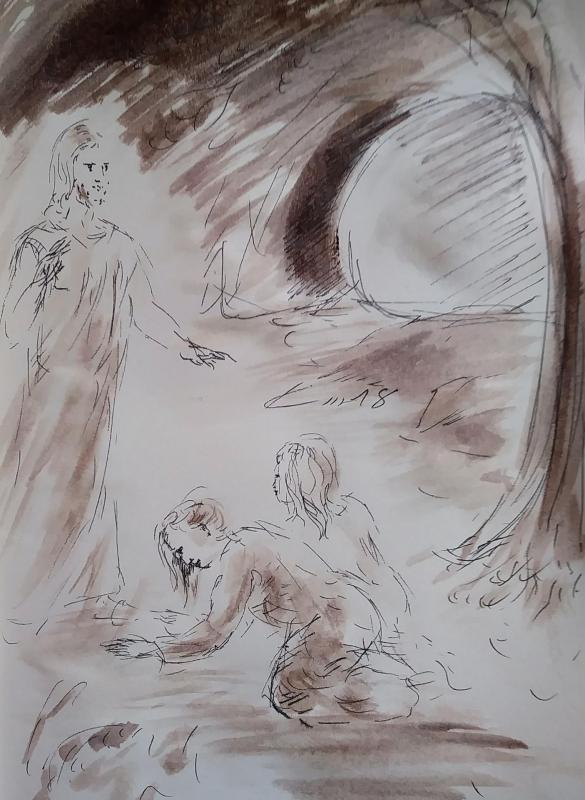 2 avril 2018 evangile du jour illustre par un dessin au lavis de jean joseph chevalier