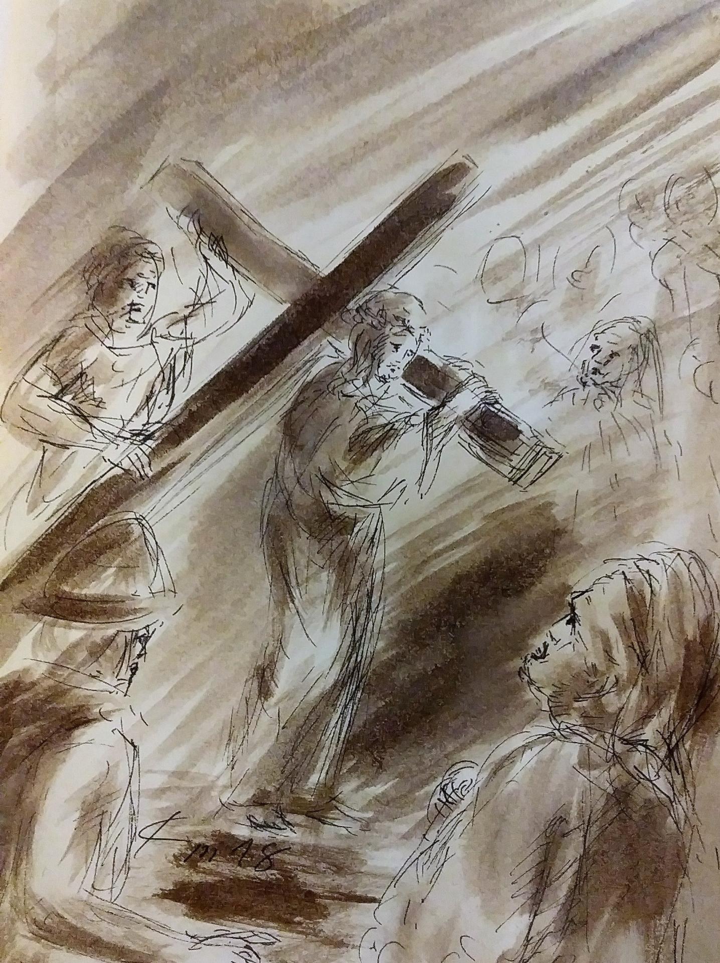 2 chemin de croix deuxieme station jesus est charge de sa croix dessin au lavis de jean joseph chevalier