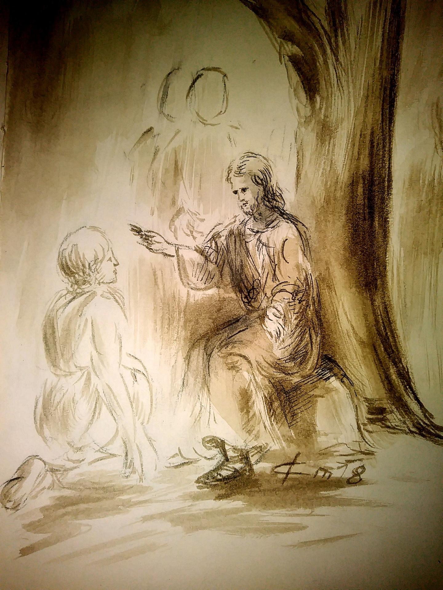 2 juillet 2018 evangile du jour illustre par un dessin au lavis de jean joseph chevalier
