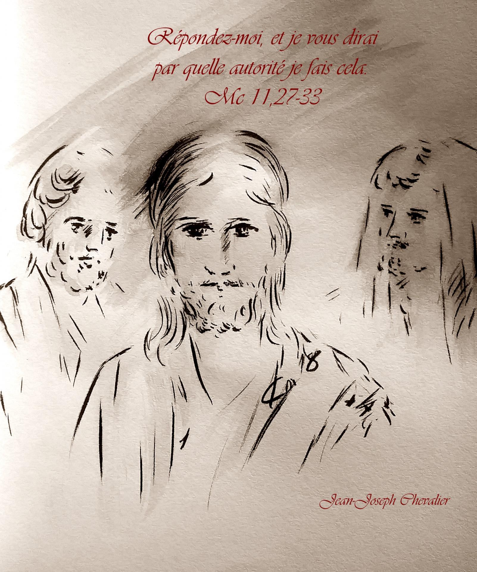 2  Juin 2018, évangile du jour illustré par un dessin au lavis