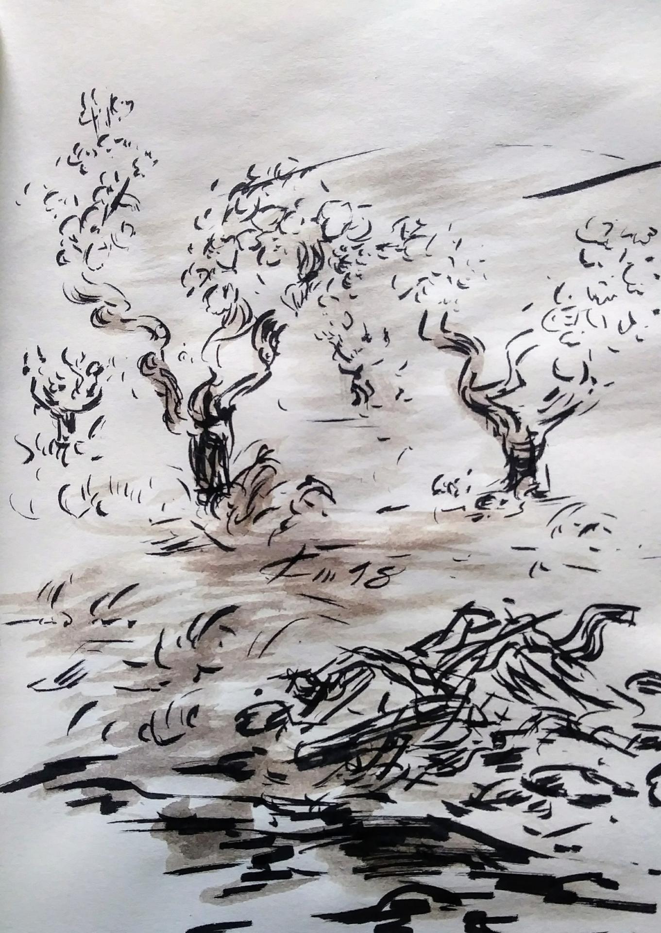 2 Mai 2018, évangile du jour illustré par un dessin au lavis