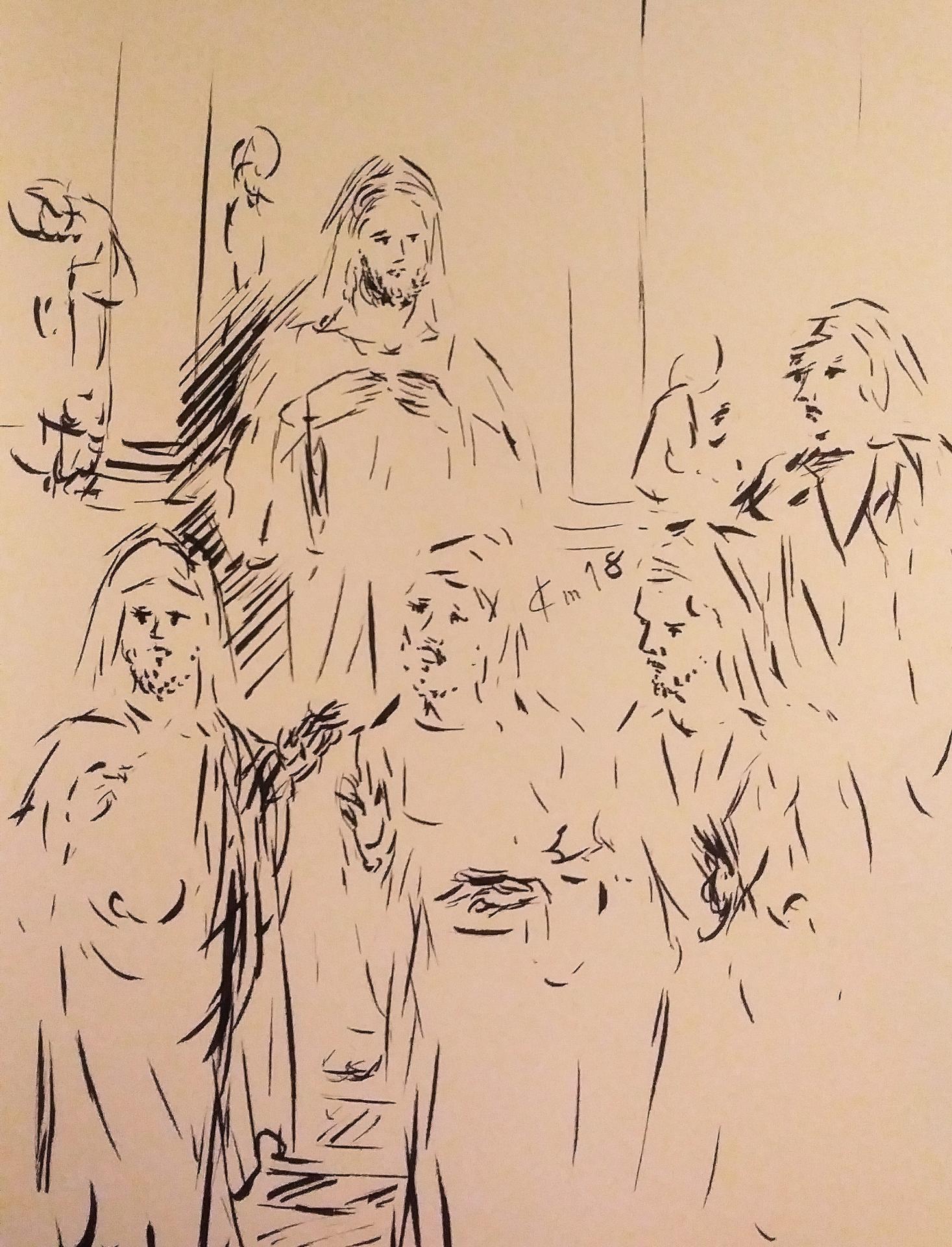 20 avril 2018 evangile du jour illustre par un dessin au lavis de jean joseph chevalier