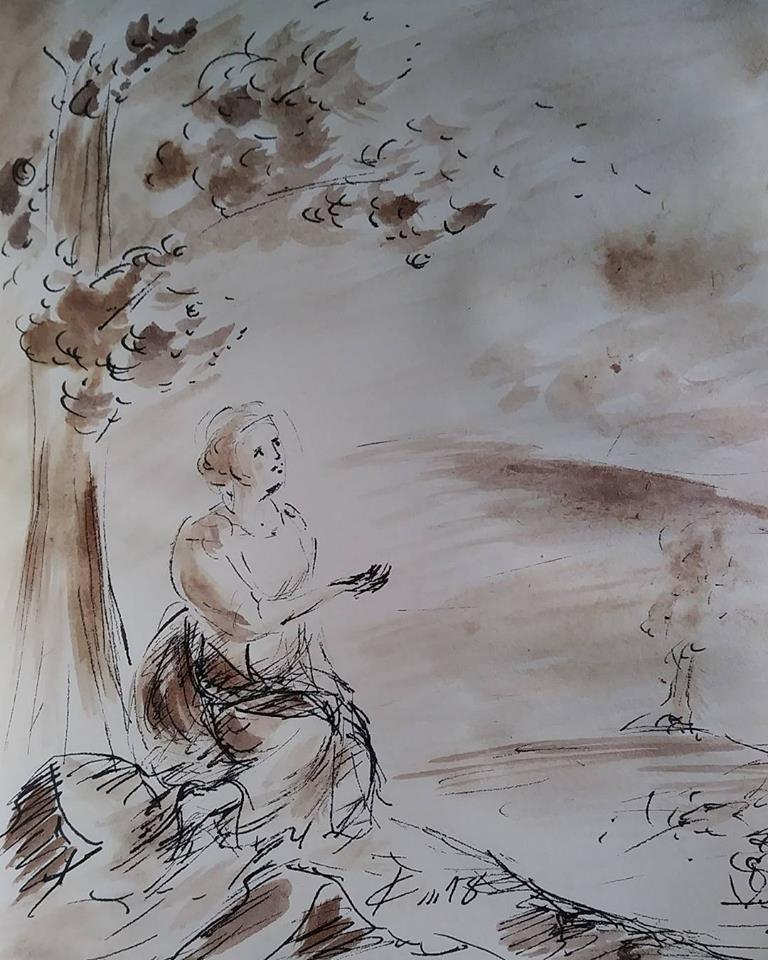 20 février 2018, évangile du jour illustré par un dessin au lavis