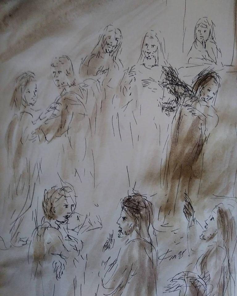 20 Janvier 2018, évangile du jour illustré par un dessin au lavis