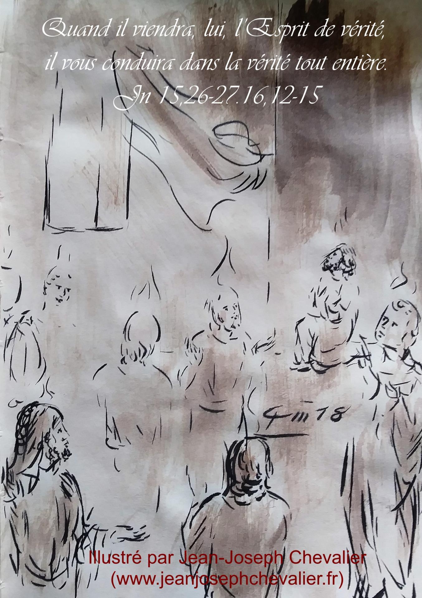20 mai 2018 evangile du jour illustre par un dessin au lavis de jean joseph chevalier image