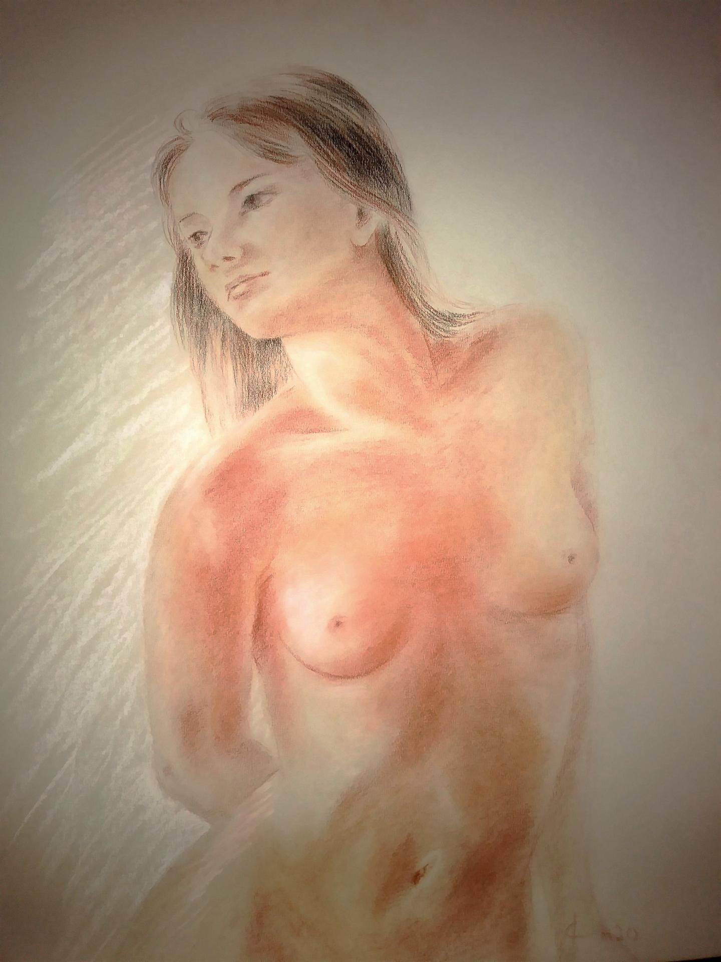 nu féminin sanguine et pierre noire