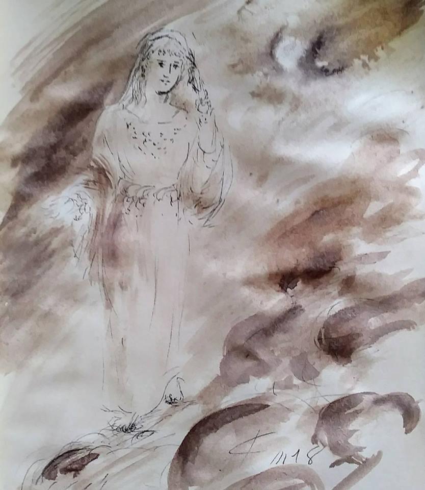21 février 2018, évangile du jour illustré par un dessin au lavis