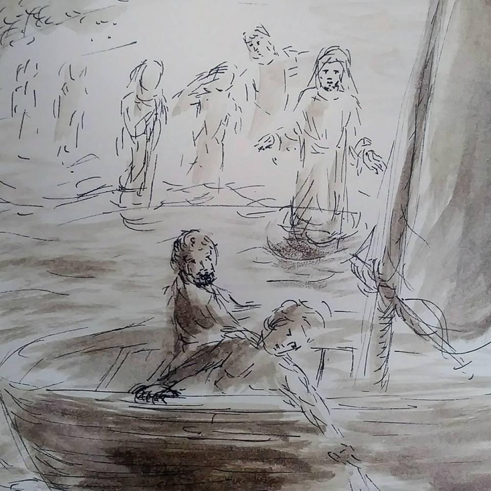 21 janvier 2018 image evangile du jour illustre par un dessin au lavis de jean joseph chevalier