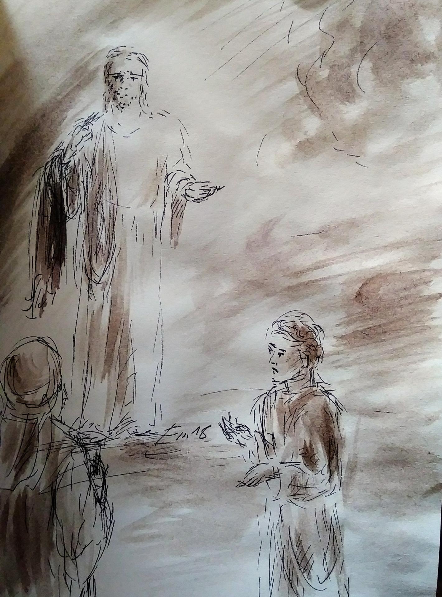 21 mars 2018 evangile du jour illustre par un dessin au lavis de jean joseph chevalier