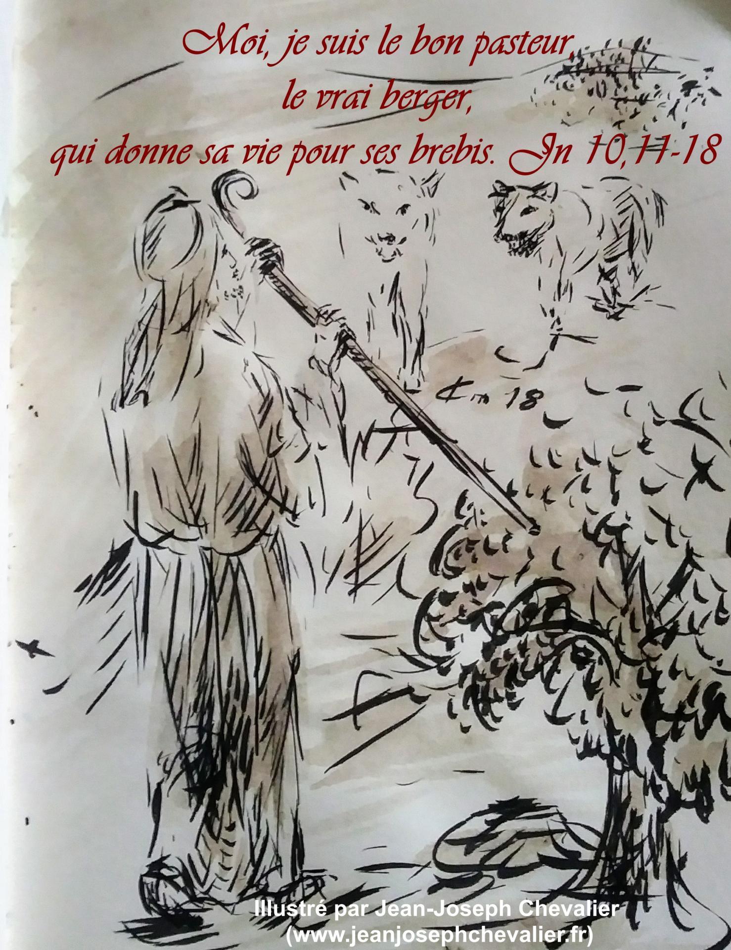 22 avril 2018 evangile du jour illustre par un dessin au lavis de jean joseph chevalier image