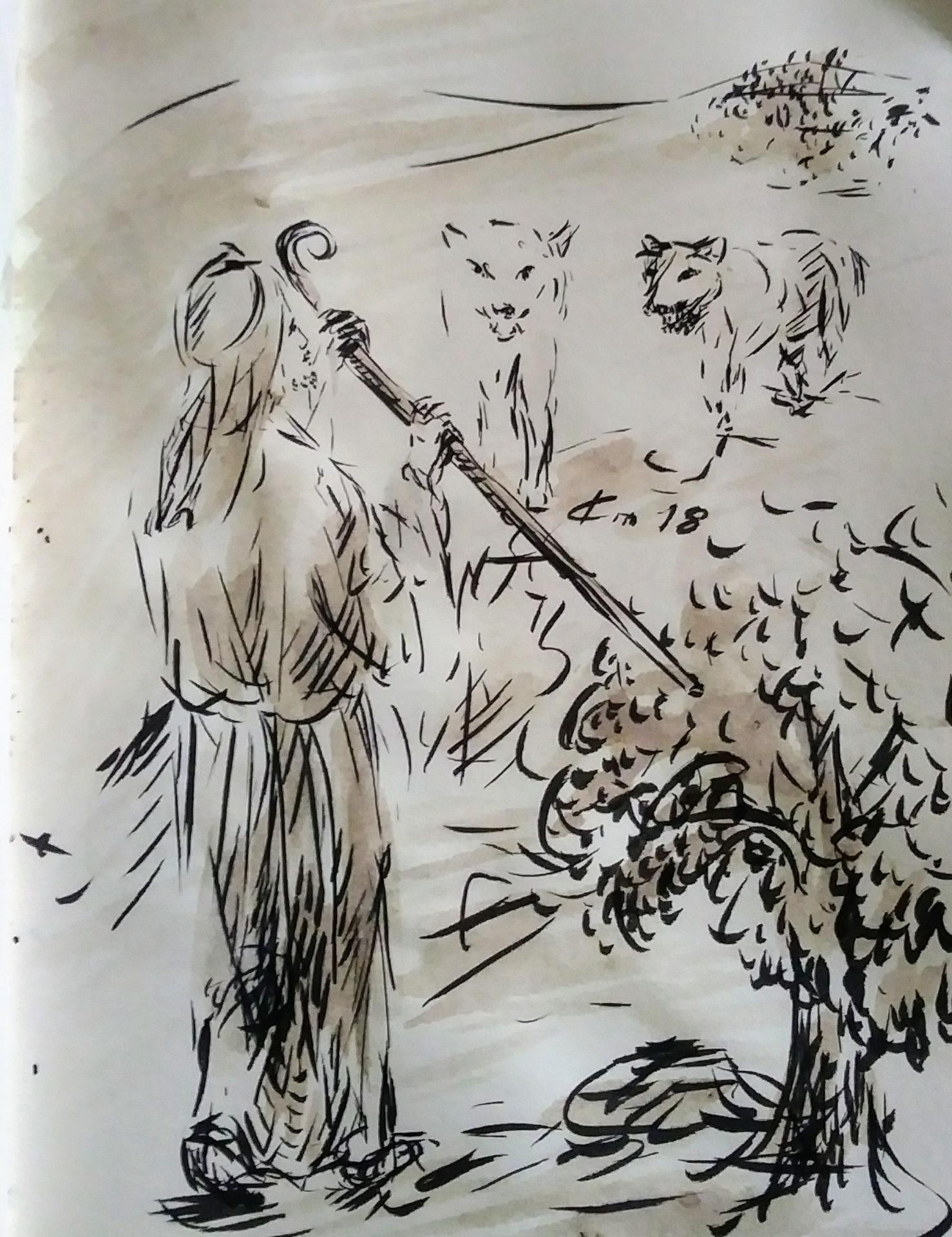 22 Avril 2018, évangile du jour illustré par un dessin au lavis