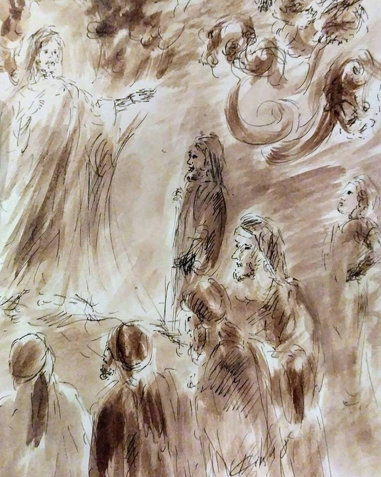 22 Janvier 2018, évangile du jour illustré par un dessin au lavis