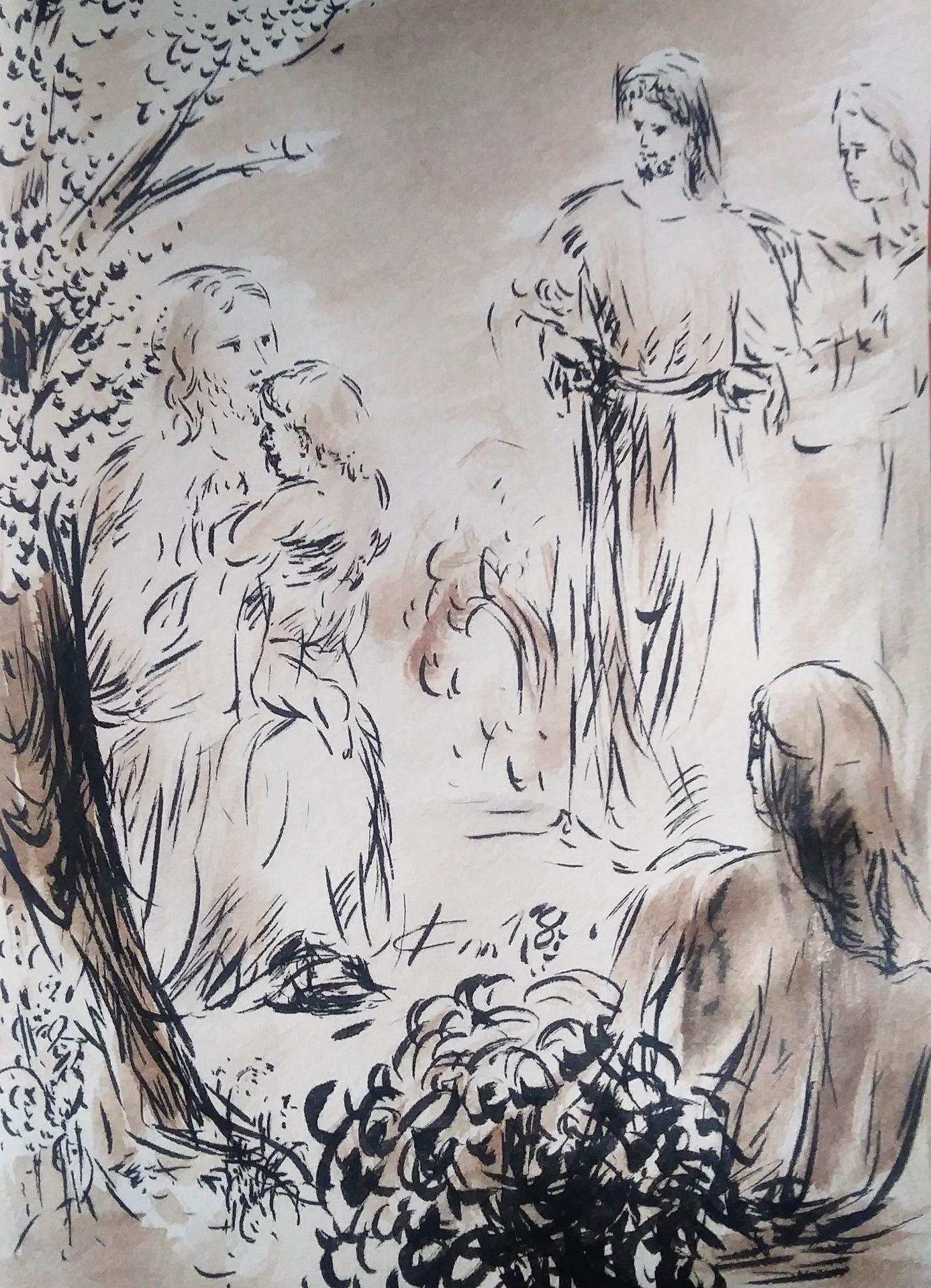 22 Mai 2018, évangile du jour illustré par un dessin au lavis