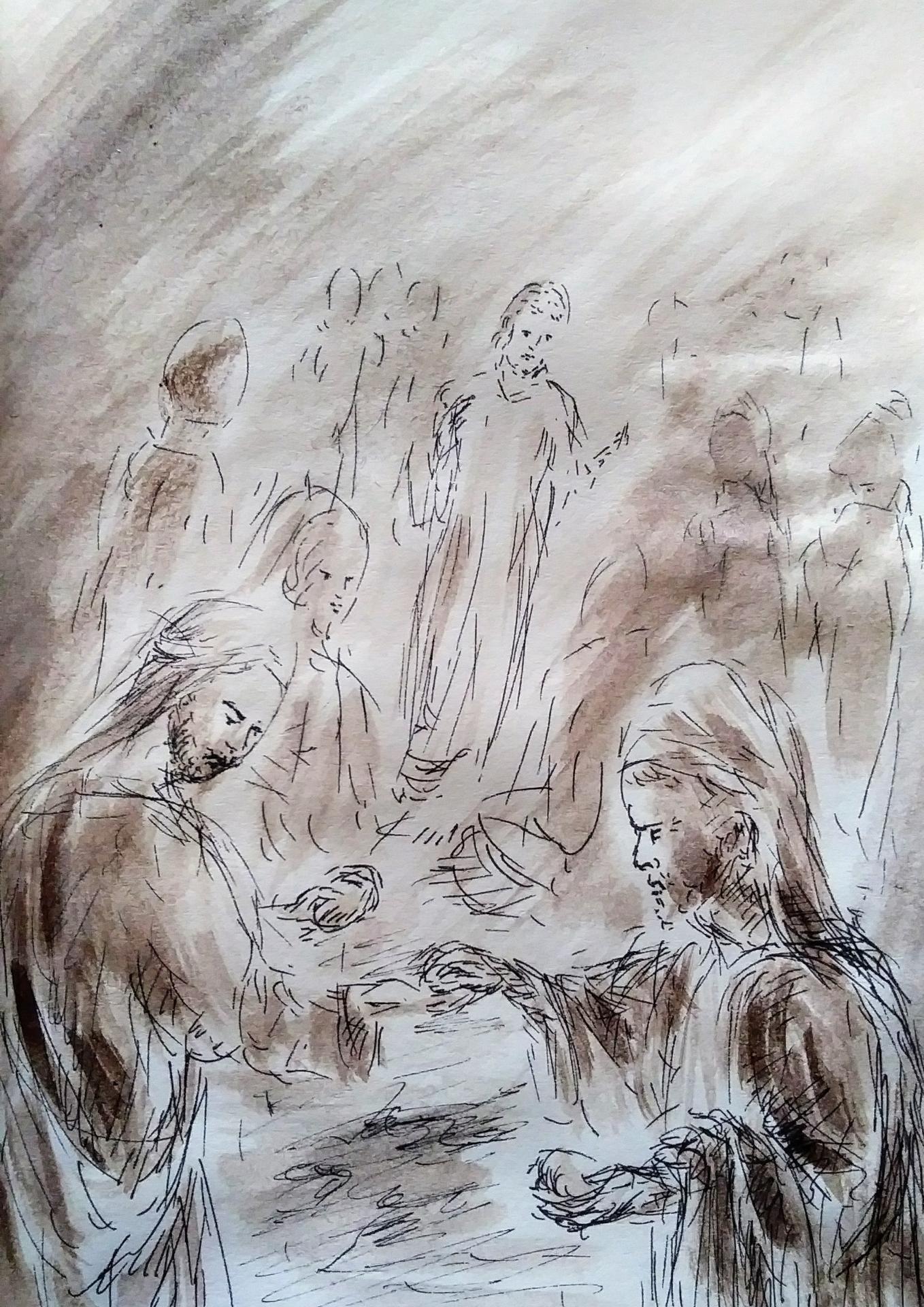 22 mars 2018 evangile du jour illustre par un dessin au lavis de jean joseph chevalier