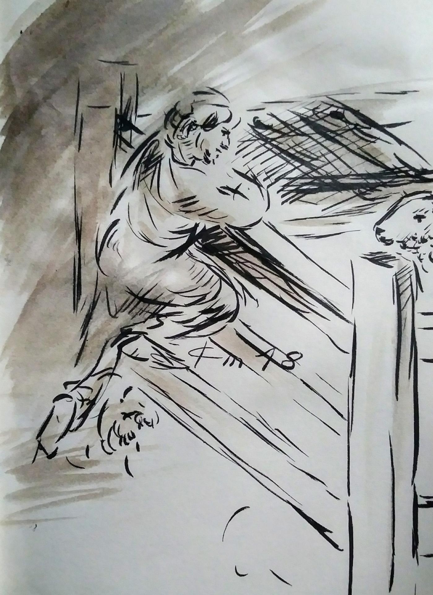 23 avril 2018 evangile du jour illustre par un dessin au lavis de jean joseph chevalier