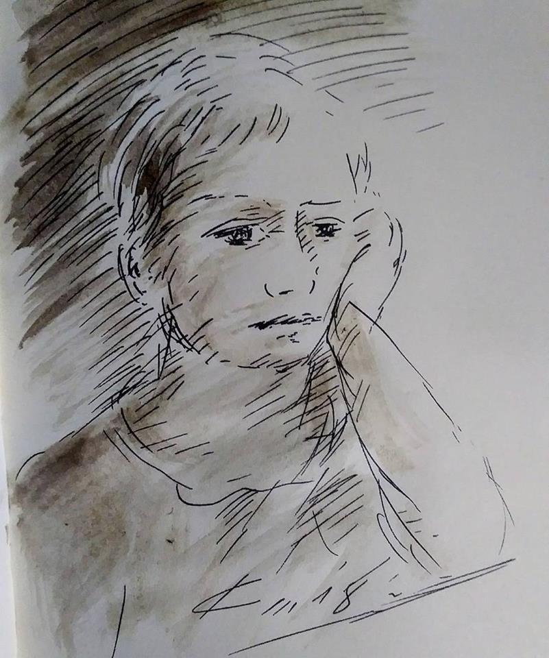 23 février 2018, évangile du jour illustré par un dessin au lavis
