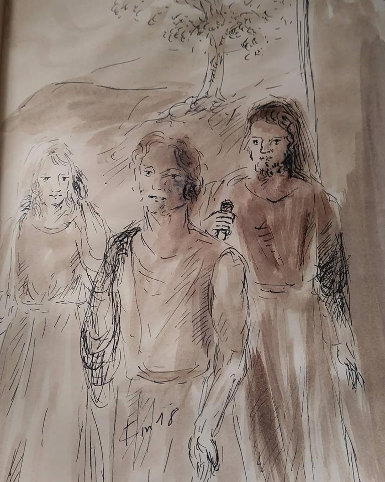 23 janvier 2018 image evangile du jour illustre par un dessin au lavis de jean joseph chevalier