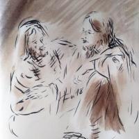 23 mai 2018 evangile du jour illustre par un dessin au lavis de jean joseph chevalier
