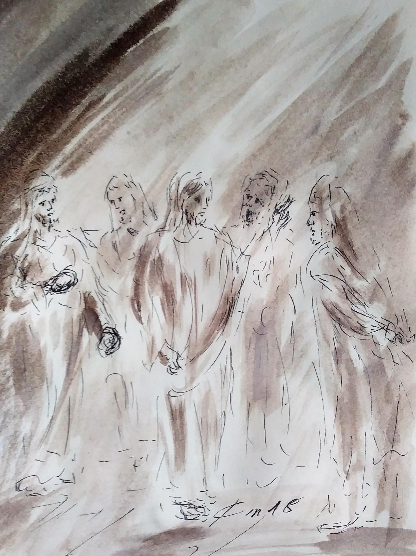 23 mars 2018 evangile du jour illustre par un dessin au lavis de jean joseph chevalier 1
