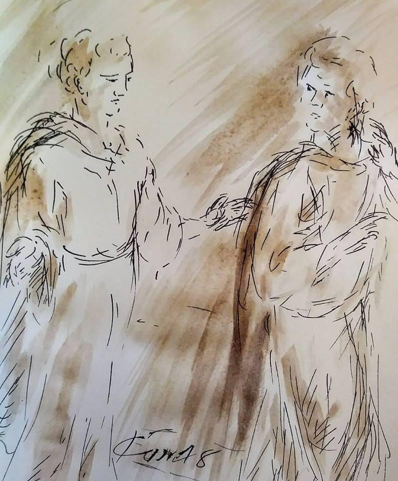 24 février 2018, évangile du jour illustré par un dessin au lavis