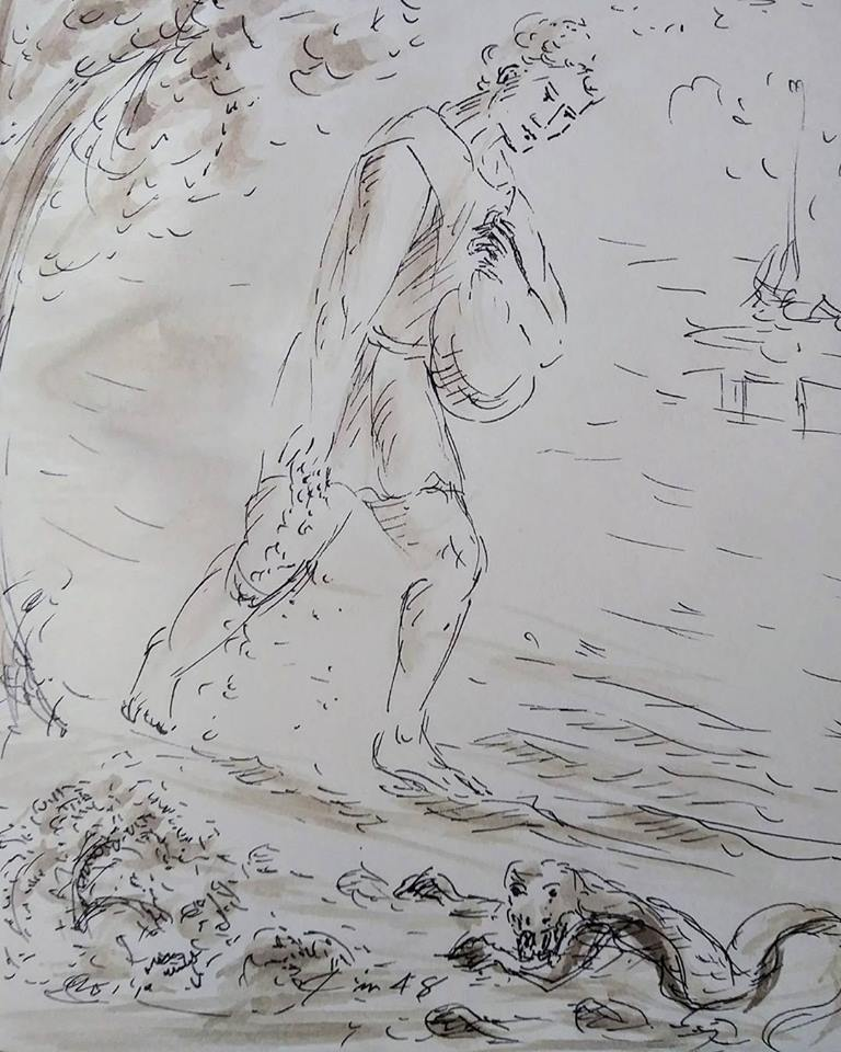 24 janvier 2018 image evangile du jour illustre par un dessin au lavis de jean joseph chevalier
