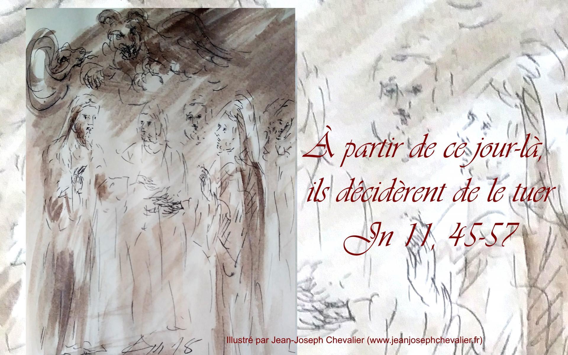 24 mars 2018 evangile du jour illustre par un dessin au lavis de jean joseph chevalier image 1
