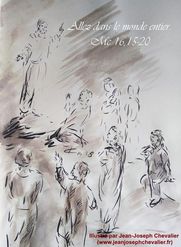 25 avril 2018 evangile du jour illustre par un dessin au lavis de jean joseph chevalier image