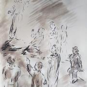 25 avril 2018 evangile du jour illustre par un dessin au lavis de jean joseph chevalier