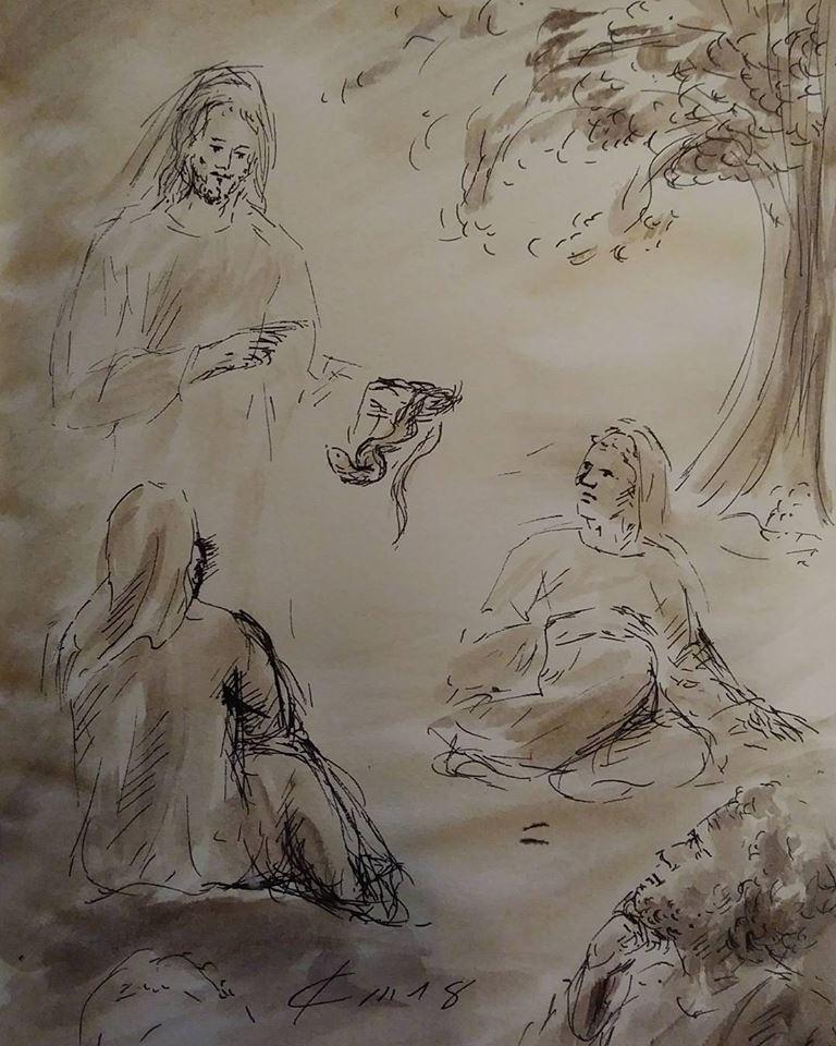 25 Janvier 2018, évangile du jour illustré par un dessin au lavis