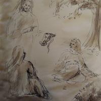 25 janvier 2018 image evangile du jour illustre par un dessin au lavis de jean joseph chevalier