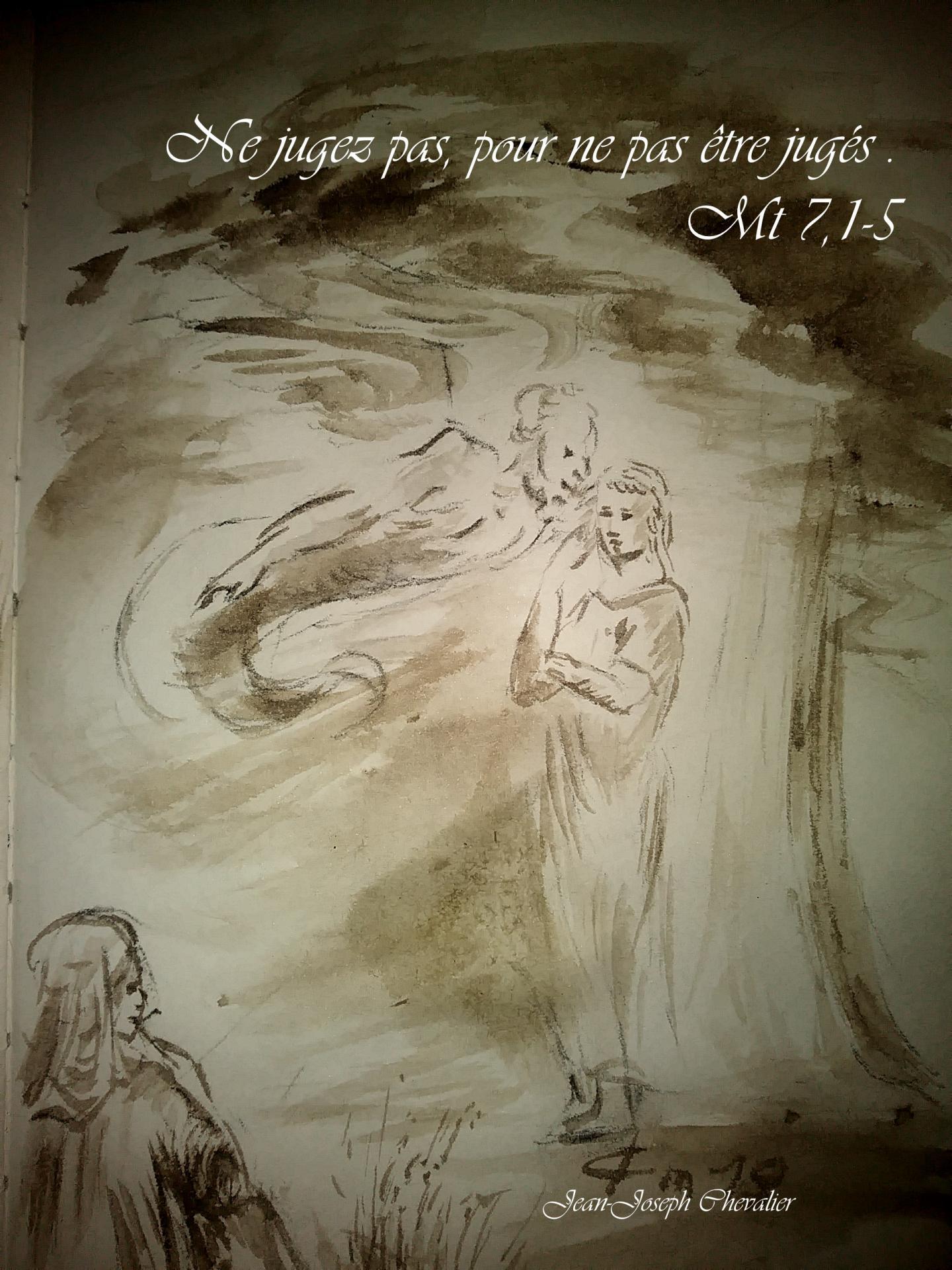 25 Juin 2018, évangile du jour illustré par un dessin au lavis
