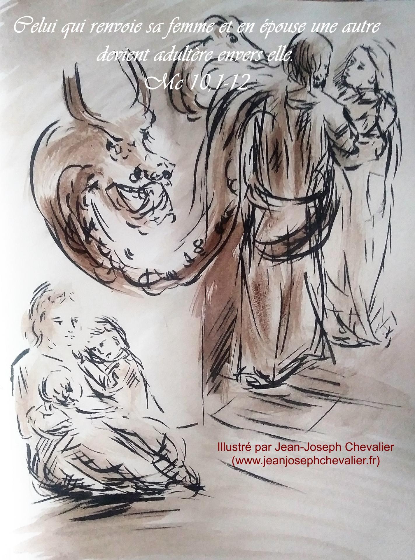 25 Mai 2018, évangile du jour illustré par un dessin au lavis