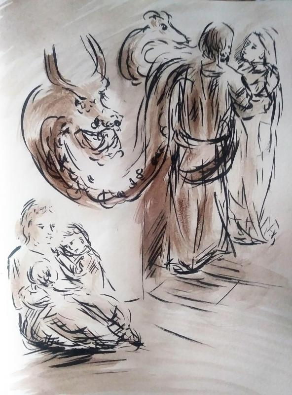 25 mai 2018 evangile du jour illustre par un dessin au lavis de jean joseph chevalier