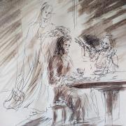 25 mars 2018 evangile du jour illustre par un dessin au lavis de jean joseph chevalier 1