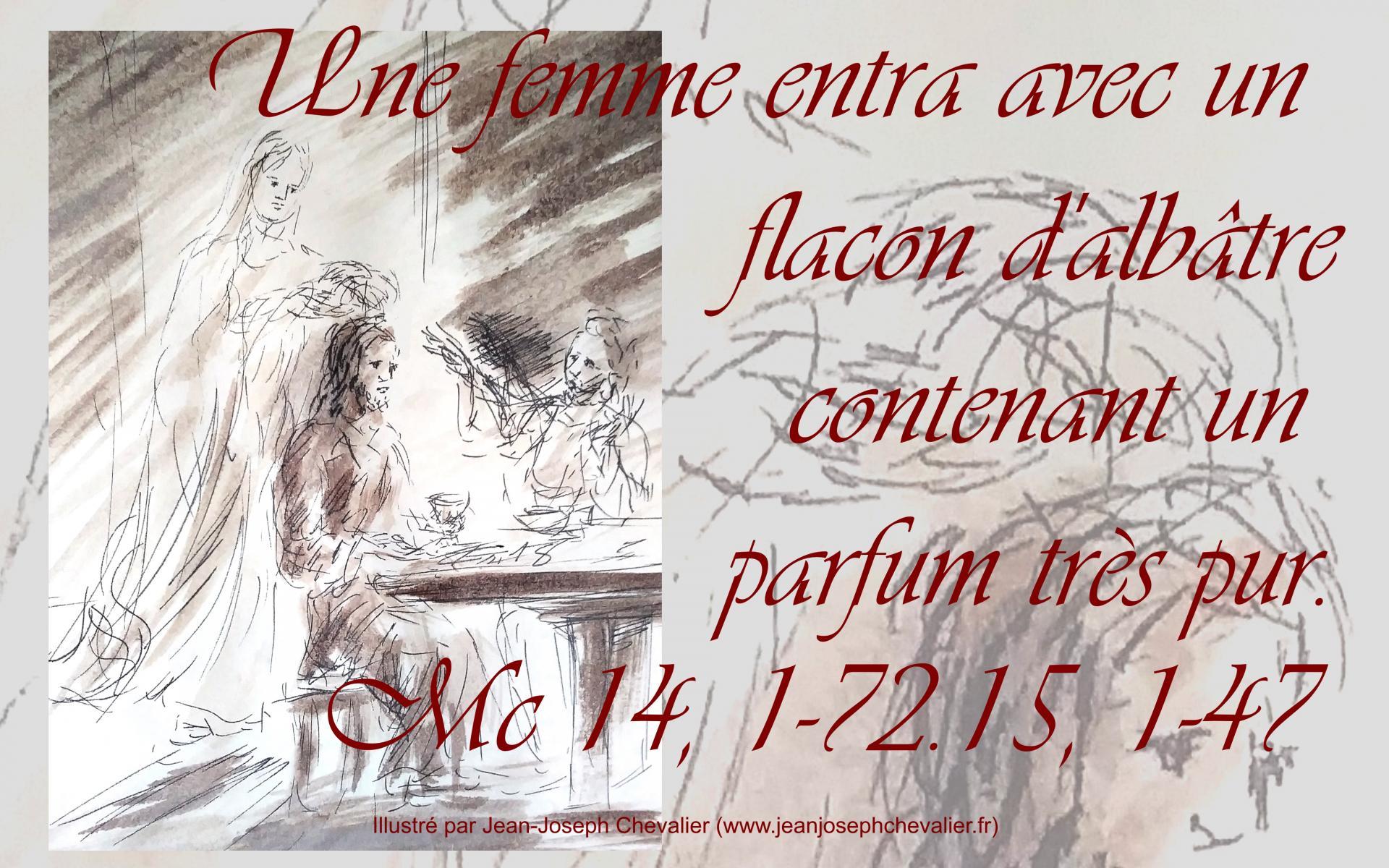 25 mars 2018 evangile du jour illustre par un dessin au lavis de jean joseph chevalier image 1