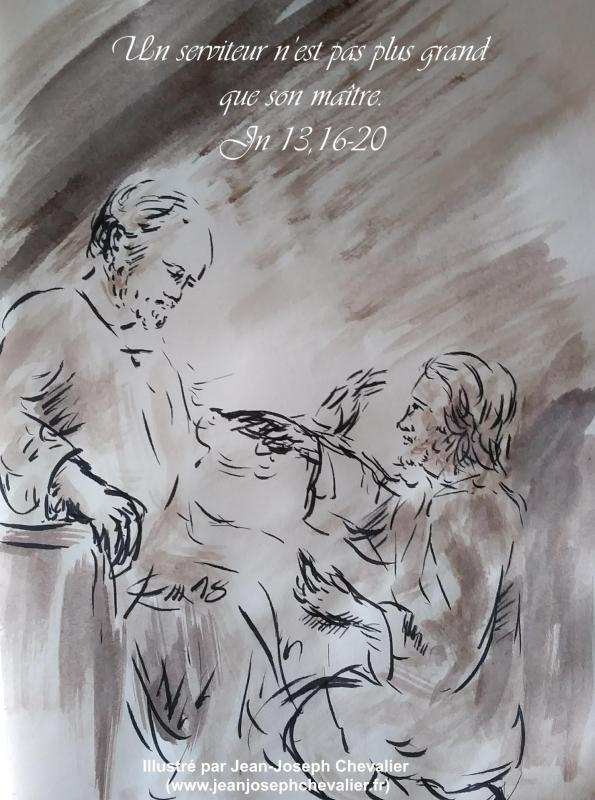 26 avril 2018 evangile du jour illustre par un dessin au lavis de jean joseph chevalier image