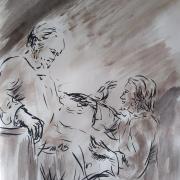 26 avril 2018 evangile du jour illustre par un dessin au lavis de jean joseph chevalier